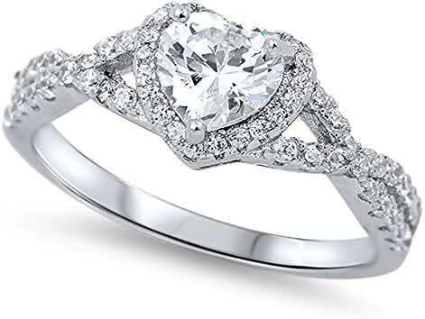 Heart Shaped Clear Cubic Zirconia Swirl Heart Ring 925 Sterling Silver