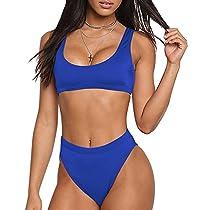 Bikini Sets Sport Swimsuit Low Scoop Crop Top High Waisted High Cut Cheeky Bottom