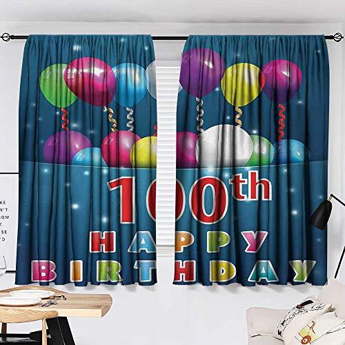 Jinguizi 100th Birthday Curtain for Bathroom Colorful Balloons on Star Like Dots 100 Years Birthday Festivity Print Darkening Curtains Blue and Dark Blue W55 x L39 by Jinguizi (Image #1)
