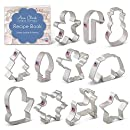 Christmas Cookie Cutter Set with Recipe Card - 11 Piece - Holiday Shapes Include: Snowflake, Christmas Tree, Candy Cane, Reindeer and More - Ann Clark Cookie Cutters - USA Made Steel