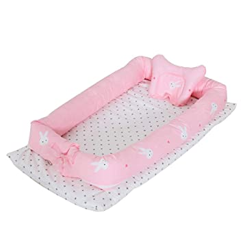 TEALP Multifunctional Baby Nest Baby Bassinet Sleep Pod//Nest Newborn Infant Co-Sleeping Portable Cribs Soft and Safe Mattress with Detachable Braided Bumper Pink Breathable Cotton 0-24 Months