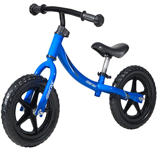Merax.12 inch Sport Balance Bike Compact Children Bike No Pedal Foot to Floor Little Exercise Bikes for Kids (Blue)
