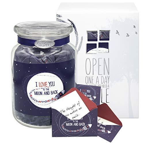 KindNotes Glass Keepsake Gift Jar of Fighting Cancer Messages for Cancer, Breast Cancer, Patients   Fighting Cancer Messages - Moon and Back