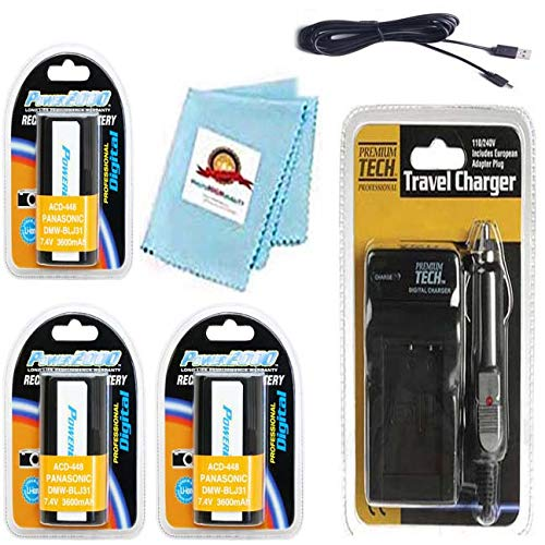 3X DMW-BLJ31E, Batteries + Charger + USB Cable + Cloth for Panasonic Lumix DC-S1, DC-S1H, DC-S1R, DC-S1MK, DC-S1 Body, DC-S1H Body, DC-S1 RMK, DC-S1R Body, Digital Camera by Photo High Quality