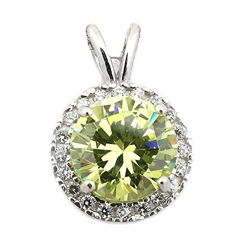 Solid Sterling Silver Rhodium Plated Simulated Peridot and CZ 8mm Halo Pendant Necklace - pendant - Sterling Peridot Plated 8mm