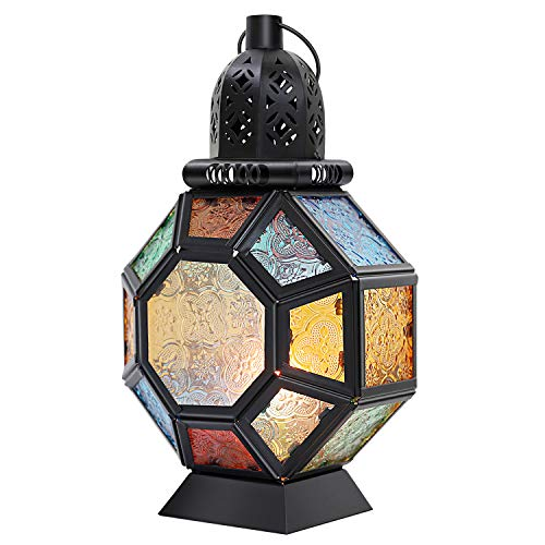 - Lewondr Retro Iron Candlestick Holder, Portable Moroccan Wrought Iron Stained Glass Candle Holder Hanging Lamp Horse Light Wind Lantern for Home Decor - Black + Colorful