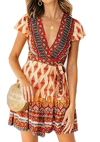 (Shmily Girl Women's Dresses Summer Wrap V Neck Bohemian Floral Print Ruffle Swing A Line Beach Mini Dress (L, Yellow))