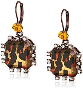 Betsey Johnson Women's Hollywood Glam Leopard Brown Crystal Small Drop Earrings Leopard Drop Earrings