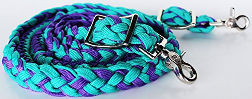 ProRider Horse Knotted Roping Western Barrel Reins Nylon Braided Rein Turquoise 607129