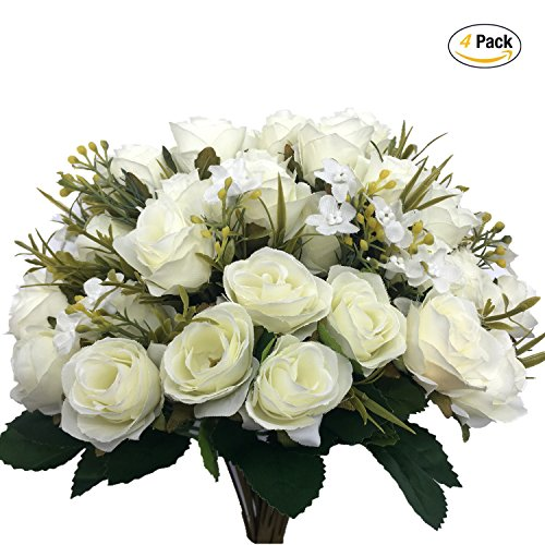 CATTREE Artificial Rose Flowers, Artificial Silk Fake Flowers 5 Branch 10 Heads Leaf Rose Wedding Floral Decor Bouquet for Home Garden Party Wedding Decoration (White) 4pcs