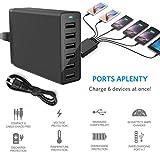 Liu Nian Multi Port USB Charger 6-Port 12A 60W USB3.0 Rapid Charging Station Desktop Travel Hub For Office Android Apple iPhone X, iPad Air/Pro, Samsung (Black)