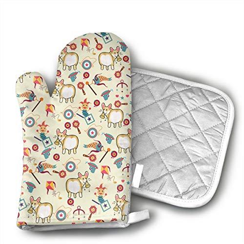ZORITO Oven Mitt & Potholder Funny Corgi Oven Glove Combination Kitchen Counter Safe Non-Slip Heat Resistant.