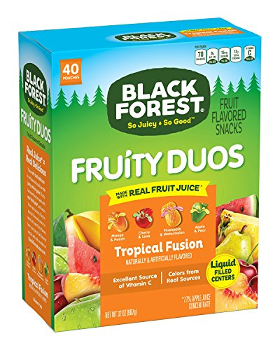 Black Forest Fruit Snacks Fruity Duos Liquid Burst , Tropical Fusion, 0.8-Ounce Bag (Pack of 40)