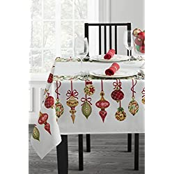 "Benson Mills Christmas Village Fabric Printed Tablecloth (60"" X 144"" Rectangular, Holiday Trimming)"