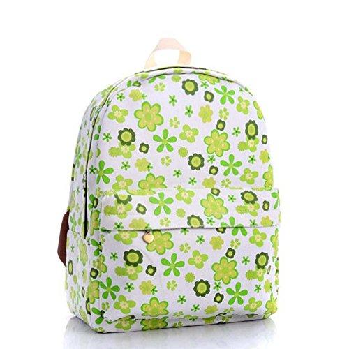 OUFLY lindo amarillo claro y crisantemo pastoral estilo lona mochila mochila de impresión de viajes Daypack impreso mochila hombro bolsa mochila escuela escuela bolsa para mujeres Damas Chicas Flores verdes frescas