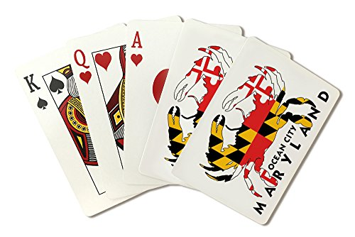 (Ocean City, Maryland - Crab Flag (Playing Card Deck - 52 Card Poker Size with Jokers))
