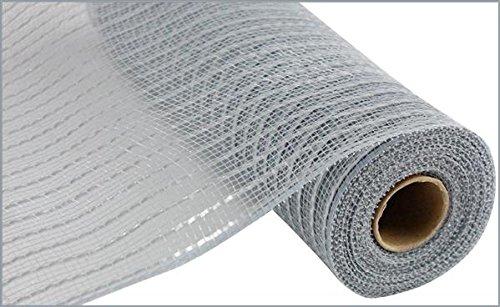 Matte Wide Foil Deco Poly Mesh Ribbon, 10 Inches x 30 Feet (Grey, Matte Silver)