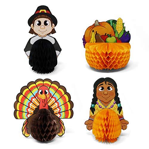 JOYIN Thanksgiving Party Decoration Set Including 4 Thanksgiving Decorative Playmates, 1 Banner Hanging Garland, 6 Foil…