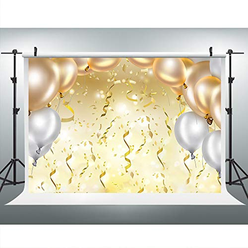 Grand Party Photography Backdrop, 9x6FT, Golden Balloons Ribbons Background, Great for Prom, Graduation, Wedding, Birthday Party Props LYLU262 ()