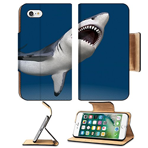 MSD Premium Apple iPhone 7 iPhone7 Flip Pu Leather Wallet Case Great White Shark Attack 36649474