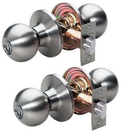 Master Lock Keyed Entry Door Lock Ball Style Knob Satin Nickel