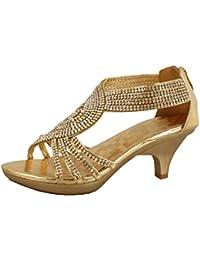 JJF Shoes Delicacy Angel-62 Womens Strappy Rhinestone Dress Sandal Low Heel Shoes