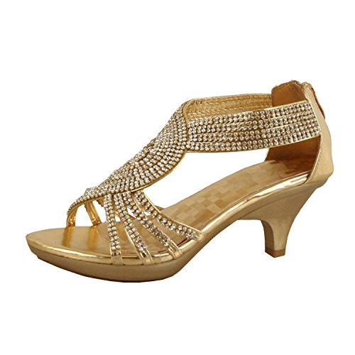 - Delicacy Womens Angel-37 Strappy Rhinestone Dress Sandal Low Heel Shoes,Gold,8