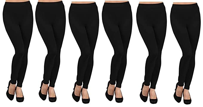 ea49ed8022f36 Ruthy's Apparel 6 Pack Fleece Lined Leggings at Amazon Women's ...
