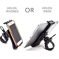 Pro Phone / Ipad / Tablet Exercise Bicycle Accessories - Holder for stationary bike, cycling, treadmill, elliptical, spinning machine. Secure mini cycling mount clamp for Iphone / Ipad on ANY machine from iOriginale