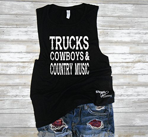 (Trucks Cowboys & Country Music Muscle Tank, Country Concert Tank, Cute Drinking Tank, Country Thunder Shirt, Country Music Shirt)