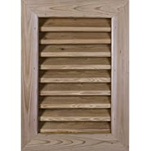 "Ekena Millwork GVWVE16X1202SDUPI Unfinished, Decorative and Smooth Pine 16"" Width x 12"" Height Vertical Gable Vent with Decorative Face Frame"