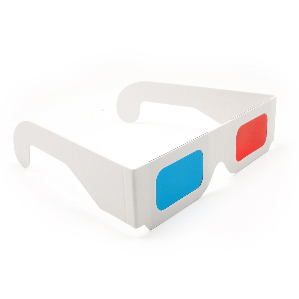 Generic 12 Pairs of Red/Cyan Cardboard 3D Glasses - White Frame
