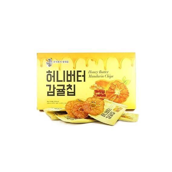 Mielmi Rebanadas de mandarina deshidratada Pack de chips de mandarina con mantequilla de miel de jeju
