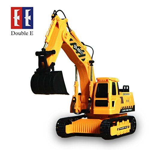 8 Channel Full Functional RC Excavator, Double E 1:20 Scale RC Remote Control Construction Toy Truck with Lights & Sounds 2.4Ghz