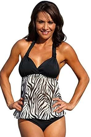 UjENA Sheer Zebra Open-Back Tankini Swim Dress Top Only at