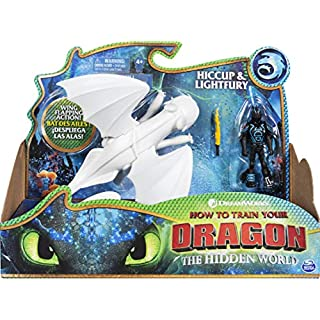 Dreamworks Dragons, Lightfury and Hiccup, Dragon with Armored Viking Figure, for Kids Aged 4 and Up, Multicolor, Model:6052266