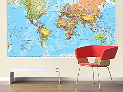 Giant world megamap huge wall map paper with front sheet giant world megamap huge wall map paper with front sheet lamination by maps international gumiabroncs Choice Image