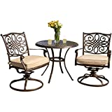 Cheap Hanover TRADITIONS3PCSW Traditions 3-Piece Deep-Cushioned Outdoor Bistro Set, Includes 2 Deep Cushioned Swivel-Rockers and 32-Inch Round Bistro Table