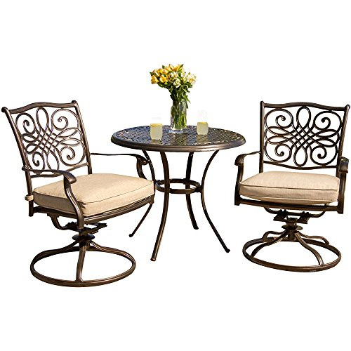 Hanover TRADITIONS3PCSW Traditions 3-Piece Deep-Cushioned Outdoor Bistro Set, Includes 2 Deep Cushioned Swivel-Rockers and 32-Inch Round Bistro Table by Hanover