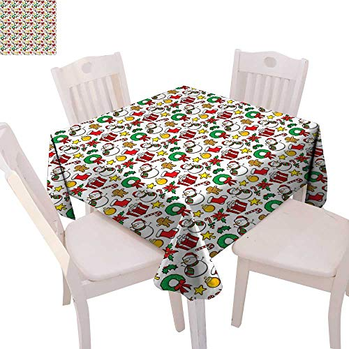 "cobeDecor Christmas Stain Resistant Wrinkle Tablecloth Festive Celebration of Xmas Garland Candy Cane Snowman Mistletoe Tree Ornaments Square Wrinkle Resistant Tablecloth 60""x60"" Multicolor"