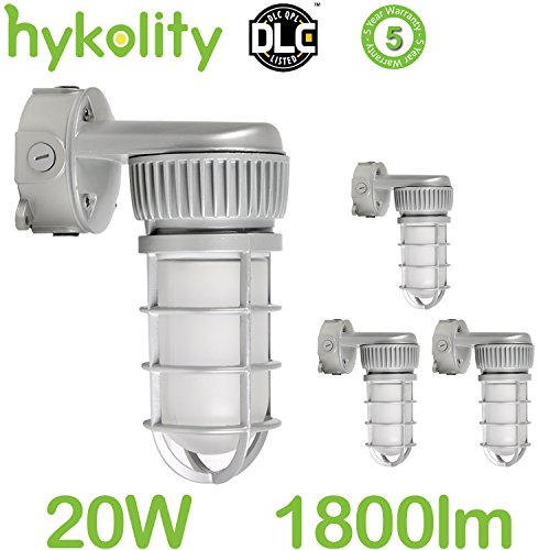 Hykolity integrated led vapor and water tight outdoor light fixture 20w [70w mh/hps equivalent] 1800lm 5000k daylight white vandal proof industrial wall mount light aluminum housing-pack of 4 Dust Proof Outdoor Housing