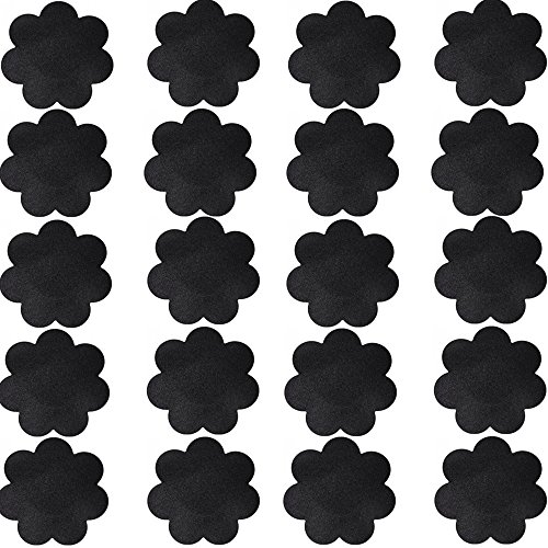 Nippleless Cover, 20 Pairs Self-Adhesive Disposable Bra Gel Petals Pad Pasties (Black 20 Pairs)