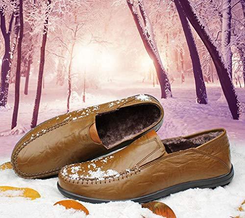 Occasionnels Hommes Plus Velours Slip Leathershoes Soft Hiver D 43 Bottom Garder Chaud c Épaissir Chaussures Papa Mocassins amp; ons qr4q0wA