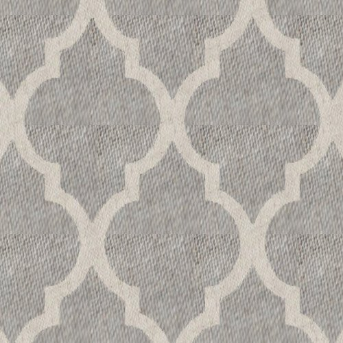 Moroccan Tile Curtains for Bedroom Grey on Flax Quatrefoil Printed Flax Linen Blend Textured Window Treatment Set for Living Room 72 inches Long, 1 Pair