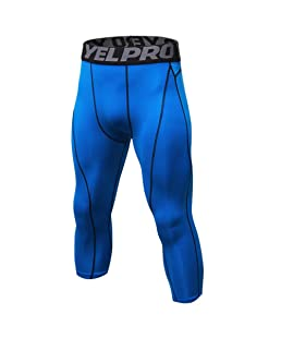Luxsea Men's 3/4 Sport Leggings Quick Dry Yoga Workout Running Fitness Stretch Tights Pants Blue