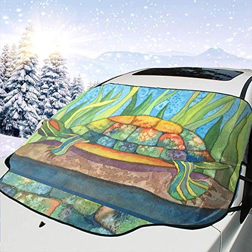 PNNUO Sunshades for Car Windshield Front Window Cover Tie Dye Turtle Rain Weatherproof Protection Foldable for Minivans Blocks UV Ray Radiation Heat Reflector