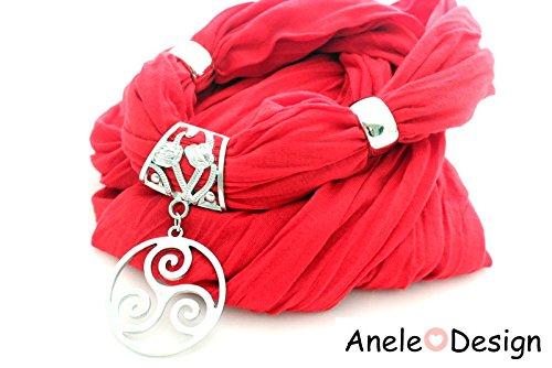 Foulard bijou rouge - médaille ronde argentée