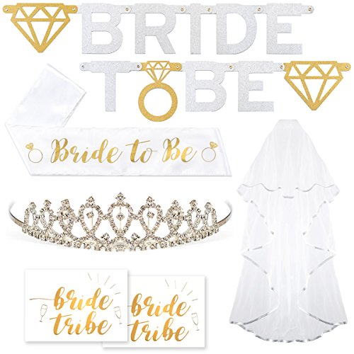 Bachelorette Party Bride To Be Decorations Kit - Bridal Shower Supplies | Sash For Bride, Rhinestone Tiara, Gold and Silver Banner, Veil + Bride Tribe Flash (Bachelorette Party Decoration)