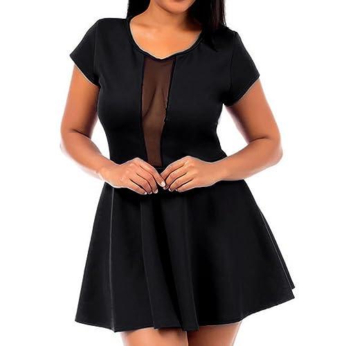 8010 - Peek a Boo Mesh Panel Short Club Cocktail Dress Black