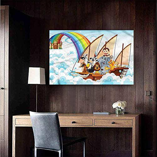 Brandosn Wall Art Canvas Prints Children Noahs Ark in Clouds TV Backdrop Wall Size : W20 x H16 (Noahs Ark Back Drop)